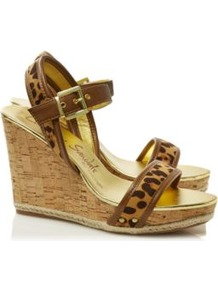 Leopard Print Wedges Multi - predominant colour: tan; occasions: casual, holiday; material: faux leather; heel height: high; embellishment: studs; ankle detail: ankle strap; heel: wedge; toe: open toe/peeptoe; style: standard; finish: plain; pattern: animal print