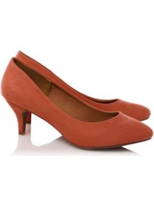 Suedette Court Shoes Burnt Orange - predominant colour: terracotta; occasions: casual, evening, work, occasion; material: fabric; heel height: mid; heel: kitten; toe: round toe; style: courts; finish: plain; pattern: plain