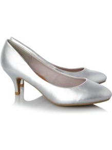 Metallic Court Shoe Silver - predominant colour: silver; occasions: evening, occasion; material: faux leather; heel height: mid; heel: kitten; toe: round toe; style: courts; trends: metallics; finish: metallic; pattern: plain