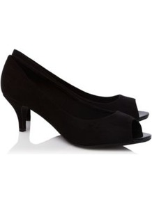 Suedette Peep Toe Shoes Black - predominant colour: black; occasions: evening, work, occasion; material: fabric; heel height: mid; heel: kitten; toe: open toe/peeptoe; style: courts; finish: plain; pattern: plain