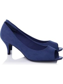 Suedette Peep Toe Shoes Navy - predominant colour: navy; occasions: casual, evening, work, occasion; material: fabric; heel height: mid; heel: kitten; toe: open toe/peeptoe; style: courts; finish: plain; pattern: plain