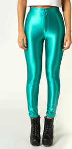 Samantha High Rise Disco Pants - pattern: plain; style: leggings; waist: high rise; predominant colour: emerald green; occasions: casual, evening; length: ankle length; fibres: polyester/polyamide - 100%; jeans & bottoms detail: turn ups; texture group: lycra/elastane mixes; trends: metallics; fit: skinny/tight leg; pattern type: fabric