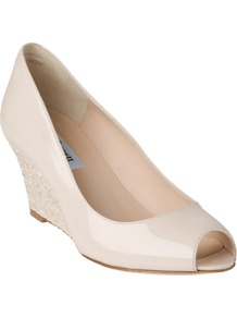Zelita Patent Peep Toe Wedges - predominant colour: ivory; occasions: evening, work, occasion; material: leather; heel height: high; heel: wedge; toe: open toe/peeptoe; style: courts; finish: plain; pattern: plain