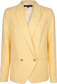Mandy Button Jacket, Yellow - pattern: plain; style: double breasted blazer; length: below the bottom; collar: standard lapel/rever collar; predominant colour: primrose yellow; occasions: casual, evening, work; fit: straight cut (boxy); sleeve length: long sleeve; sleeve style: standard; texture group: linen; collar break: medium; pattern type: fabric; fibres: linen - stretch