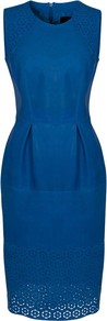 Lucille Leather Dress, Truest Blue - style: shift; neckline: round neck; fit: tailored/fitted; pattern: plain; sleeve style: sleeveless; waist detail: structured pleats at waist; predominant colour: royal blue; occasions: evening, occasion; length: on the knee; fibres: leather - 100%; sleeve length: sleeveless; texture group: leather; trends: glamorous day shifts; pattern type: fabric