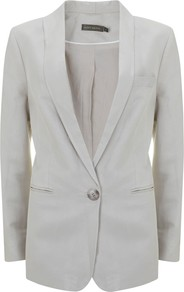 Boyfriend Blazer, Stone - pattern: plain; style: single breasted blazer; shoulder detail: shoulder pads; bust detail: added detail/embellishment at bust; collar: shawl/waterfall; length: below the bottom; predominant colour: ivory; occasions: evening, work, occasion, holiday; fit: tailored/fitted; fibres: linen - mix; waist detail: fitted waist; back detail: back vent/flap at back; sleeve length: long sleeve; sleeve style: standard; texture group: linen; collar break: low/open; pattern type: fabric