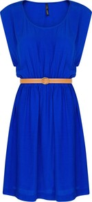 Embossed Belt Dress - length: mid thigh; sleeve style: capped; fit: fitted at waist; pattern: plain; style: sundress; waist detail: belted waist/tie at waist/drawstring; bust detail: ruching/gathering/draping/layers/pintuck pleats at bust; predominant colour: royal blue; secondary colour: nude; occasions: casual, evening, holiday; neckline: scoop; fibres: viscose/rayon - 100%; hip detail: soft pleats at hip/draping at hip/flared at hip; shoulder detail: flat/draping pleats/ruching/gathering at shoulder; sleeve length: sleeveless; trends: volume; pattern type: fabric; texture group: jersey - stretchy/drapey