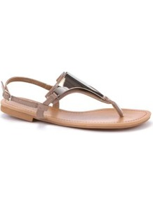 Nude Metal Plate Sandals - predominant colour: nude; secondary colour: silver; occasions: casual, holiday; material: faux leather; heel height: flat; ankle detail: ankle strap; heel: standard; toe: toe thongs; style: flip flops / toe post; finish: plain; pattern: plain; embellishment: chain/metal