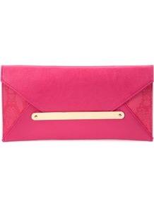 Pink And Gold Envelope Clutch - predominant colour: hot pink; occasions: evening, occasion; type of pattern: light; style: clutch; length: hand carry; size: small; material: faux leather; pattern: animal print; finish: plain; embellishment: chain/metal