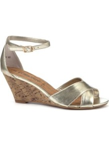 Gold Ankle Strap Low Wedges - predominant colour: gold; occasions: evening, holiday; material: faux leather; heel height: mid; ankle detail: ankle strap; heel: wedge; toe: open toe/peeptoe; style: standard; trends: metallics; finish: metallic; pattern: plain