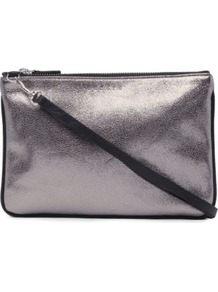 Addict Bag - predominant colour: silver; occasions: casual, evening; type of pattern: standard; style: clutch; length: hand carry; size: small; material: leather; pattern: plain; trends: metallics; finish: metallic