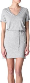 Jacksonville Dress - style: t-shirt; length: mid thigh; neckline: low v-neck; pattern: plain; waist detail: belted waist/tie at waist/drawstring; predominant colour: mid grey; occasions: casual, holiday; fit: body skimming; fibres: cotton - mix; sleeve length: short sleeve; sleeve style: standard; pattern type: fabric; texture group: jersey - stretchy/drapey