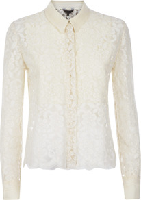 Lace Cropped Blouse - neckline: shirt collar/peter pan/zip with opening; style: shirt; bust detail: ruching/gathering/draping/layers/pintuck pleats at bust; predominant colour: ivory; occasions: evening, work, occasion; length: standard; fit: tailored/fitted; sleeve length: long sleeve; sleeve style: standard; texture group: lace; pattern type: fabric; pattern size: small & light; pattern: patterned/print; fibres: viscose/rayon - mix; embellishment: lace