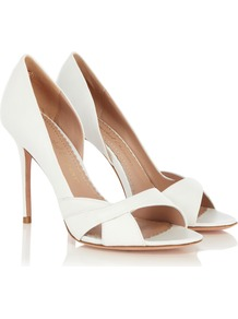 Calypso Shoe - predominant colour: white; occasions: evening, occasion; material: leather; heel height: high; heel: stiletto; toe: open toe/peeptoe; style: courts; finish: plain; pattern: plain