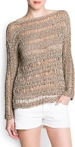 Open Knit Jumper - neckline: slash/boat neckline; sleeve style: dolman/batwing; pattern: plain; style: standard; predominant colour: stone; occasions: casual, holiday; length: standard; fibres: acrylic - mix; fit: standard fit; sleeve length: long sleeve; texture group: knits/crochet; pattern type: knitted - big stitch; pattern size: standard