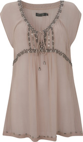 Honey Beaded Tunic - pattern: plain; bust detail: added detail/embellishment at bust; length: below the bottom; style: tunic; secondary colour: blush; predominant colour: nude; occasions: casual, holiday; neckline: scoop; fibres: viscose/rayon - 100%; fit: loose; sleeve length: short sleeve; sleeve style: standard; texture group: sheer fabrics/chiffon/organza etc.; pattern type: fabric; embellishment: beading