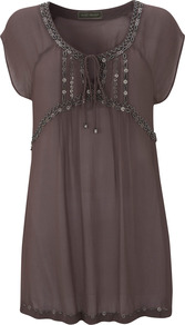 Mocha Beaded Tunic - pattern: plain; bust detail: added detail/embellishment at bust; length: below the bottom; style: tunic; predominant colour: chocolate brown; occasions: casual, holiday; neckline: scoop; fibres: viscose/rayon - 100%; fit: loose; sleeve length: short sleeve; sleeve style: standard; texture group: sheer fabrics/chiffon/organza etc.; pattern type: fabric; embellishment: beading