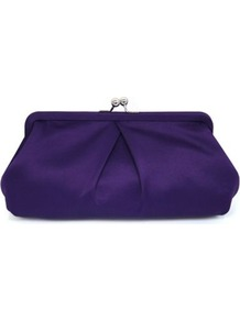 Soft Clutch Bag - predominant colour: aubergine; occasions: evening, occasion; type of pattern: standard; style: clutch; length: handle; size: small; material: satin; pattern: plain; finish: plain