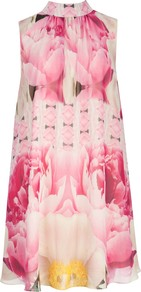 Aliah Floral Print Dress, Pale Pink - style: shift; fit: loose; sleeve style: sleeveless; neckline: high neck; secondary colour: ivory; predominant colour: pink; occasions: evening, occasion; length: just above the knee; fibres: polyester/polyamide - 100%; sleeve length: sleeveless; texture group: silky - light; pattern type: fabric; pattern size: big & busy; pattern: florals