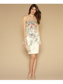 Chatsworth Dress - style: shift; neckline: strapless (straight/sweetheart); fit: tailored/fitted; sleeve style: strapless; bust detail: added detail/embellishment at bust; waist detail: fitted waist; predominant colour: ivory; secondary colour: sage; occasions: evening, occasion; length: just above the knee; fibres: cotton - stretch; sleeve length: sleeveless; texture group: cotton feel fabrics; pattern type: fabric; pattern size: small & busy; pattern: florals