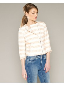 Erin Biker Jacket - pattern: horizontal stripes; collar: round collar/collarless; style: boxy; secondary colour: white; predominant colour: coral; occasions: casual; length: standard; fit: straight cut (boxy); fibres: cotton - 100%; sleeve length: 3/4 length; sleeve style: standard; collar break: high; pattern type: fabric; pattern size: standard; texture group: tweed - light/midweight