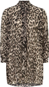 Leopard Print Dress - style: shirt; length: mid thigh; fit: loose; bust detail: ruching/gathering/draping/layers/pintuck pleats at bust; predominant colour: chocolate brown; secondary colour: stone; occasions: casual, evening, work; fibres: polyester/polyamide - 100%; neckline: no opening/shirt collar/peter pan; sleeve length: 3/4 length; sleeve style: standard; texture group: sheer fabrics/chiffon/organza etc.; trends: statement prints; pattern type: fabric; pattern size: big & busy; pattern: animal print