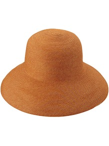 Women Paper Floppy Hat 24 Orange - predominant colour: bright orange; occasions: casual, holiday; type of pattern: standard; style: wide brimmed; size: large; material: macrame/raffia/straw; pattern: plain
