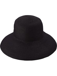 Women Paper Floppy Hat 09 Black - predominant colour: black; occasions: casual, holiday; type of pattern: standard; style: wide brimmed; size: large; material: macrame/raffia/straw; pattern: plain