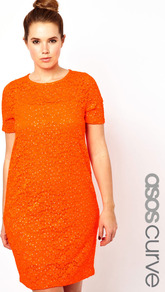 Curve Shift Dress In Sparkle Lace - style: shift; fit: tailored/fitted; pattern: plain; predominant colour: bright orange; occasions: evening, occasion; length: just above the knee; fibres: polyester/polyamide - stretch; neckline: crew; sleeve length: short sleeve; sleeve style: standard; texture group: lace; pattern type: fabric; embellishment: sequins