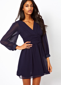 Blouson Sleeve Wrap Dress With Embellished Cuff - style: faux wrap/wrap; length: mid thigh; neckline: low v-neck; fit: fitted at waist; pattern: plain; sleeve style: balloon; waist detail: twist front waist detail/nipped in at waist on one side/soft pleats/draping/ruching/gathering waist detail; predominant colour: navy; occasions: evening, occasion; fibres: polyester/polyamide - 100%; hip detail: soft pleats at hip/draping at hip/flared at hip; sleeve length: long sleeve; texture group: sheer fabrics/chiffon/organza etc.; trends: volume; pattern type: fabric; embellishment: beading