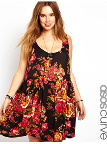 Curve Pinafore Sundress In Floral Print - fit: loose; sleeve style: sleeveless; style: sundress; back detail: racer back/sports back; bust detail: buttons at bust (in middle at breastbone)/zip detail at bust; secondary colour: hot pink; occasions: casual, holiday; length: just above the knee; neckline: scoop; fibres: viscose/rayon - 100%; predominant colour: multicoloured; sleeve length: sleeveless; trends: high impact florals; pattern type: fabric; pattern size: standard; pattern: florals; texture group: other - light to midweight