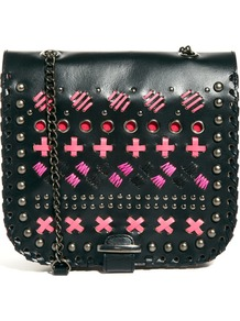 Leather Across Body Bag With Whipstitch Detail - predominant colour: black; secondary colour: black; occasions: casual, holiday; type of pattern: heavy; style: shoulder; length: across body/long; size: small; material: leather; embellishment: embroidered; finish: plain; pattern: patterned/print