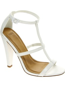 Hostage Heeled Sandals - predominant colour: white; occasions: casual, evening; material: faux leather; heel height: high; ankle detail: ankle strap; heel: cone; toe: open toe/peeptoe; style: strappy; finish: plain; pattern: plain