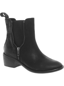 Azora Leather Chelsea Ankle Boots - predominant colour: black; occasions: casual; material: leather; heel height: mid; embellishment: zips; heel: block; toe: round toe; boot length: ankle boot; style: standard; finish: plain; pattern: plain