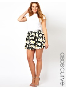 Curve Skater Skirt In Pansy Print - length: mini; fit: loose/voluminous; waist detail: elasticated waist; waist: mid/regular rise; secondary colour: white; predominant colour: black; occasions: casual, evening, holiday; style: a-line; fibres: viscose/rayon - stretch; hip detail: soft pleats at hip/draping at hip/flared at hip; trends: high impact florals; pattern type: fabric; pattern size: big & busy; pattern: patterned/print; texture group: jersey - stretchy/drapey