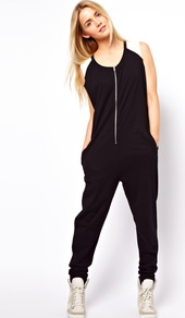 Onesie With Colour Block Shoulder Detail - length: standard; fit: loose; sleeve style: sleeveless; bust detail: buttons at bust (in middle at breastbone)/zip detail at bust; secondary colour: white; predominant colour: black; occasions: casual; neckline: scoop; fibres: cotton - 100%; sleeve length: sleeveless; style: jumpsuit; pattern type: fabric; pattern: colourblock; texture group: other - light to midweight