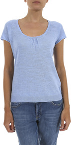 Linen Cotton Scoop T Shirt - pattern: plain; style: t-shirt; predominant colour: pale blue; occasions: casual; length: standard; neckline: scoop; fibres: linen - mix; fit: body skimming; sleeve length: short sleeve; sleeve style: standard; texture group: cotton feel fabrics; pattern type: fabric