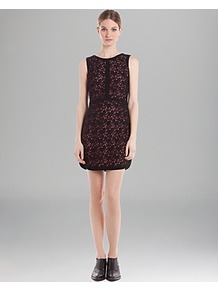 Lace Dress Ravissante - style: shift; length: mid thigh; neckline: round neck; fit: tailored/fitted; pattern: plain; sleeve style: sleeveless; waist detail: fitted waist; secondary colour: burgundy; predominant colour: black; occasions: evening, work, occasion; fibres: cotton - mix; sleeve length: sleeveless; texture group: lace; trends: glamorous day shifts; pattern type: fabric; embellishment: lace