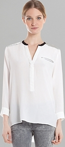 Shirt Eldorado Silk - neckline: v-neck; pattern: plain; length: below the bottom; bust detail: pocket detail at bust; style: blouse; predominant colour: white; secondary colour: black; occasions: casual, evening, work; fibres: silk - 100%; fit: straight cut; sleeve length: 3/4 length; sleeve style: standard; texture group: silky - light; pattern type: fabric