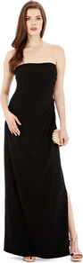 Stansie Maxi Dress - neckline: strapless (straight/sweetheart); pattern: plain; style: maxi dress; sleeve style: strapless; length: ankle length; waist detail: twist front waist detail/nipped in at waist on one side/soft pleats/draping/ruching/gathering waist detail; predominant colour: black; occasions: evening, occasion; fit: body skimming; fibres: polyester/polyamide - mix; hip detail: slits at hip; sleeve length: sleeveless; pattern type: fabric; texture group: jersey - stretchy/drapey