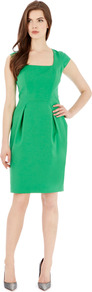 Margot Dress - sleeve style: capped; fit: tailored/fitted; pattern: plain; waist detail: fitted waist; style: tulip; predominant colour: emerald green; occasions: evening, work, occasion; length: just above the knee; fibres: cotton - stretch; hip detail: structured pleats at hip; sleeve length: sleeveless; texture group: crepes; trends: glamorous day shifts; neckline: low square neck; pattern type: fabric