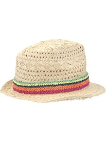 Macram Trim Straw Trilby Hat - secondary colour: bright orange; predominant colour: stone; occasions: casual, holiday; type of pattern: standard; style: trilby; size: standard; material: macrame/raffia/straw; embellishment: ribbon; pattern: plain