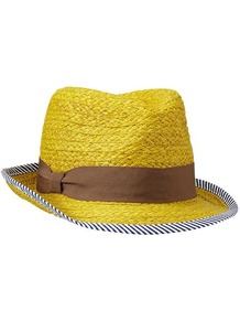 Stripe Trim Straw Fedora - predominant colour: yellow; secondary colour: chocolate brown; occasions: casual, holiday; type of pattern: light; style: trilby; size: standard; material: macrame/raffia/straw; embellishment: ribbon; pattern: striped