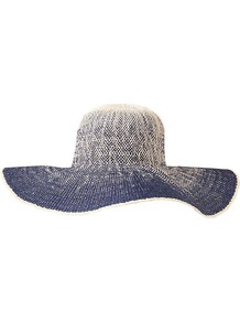 Ombre Floppy Hat - secondary colour: white; predominant colour: indigo; occasions: casual, holiday; type of pattern: standard; style: sunhat; size: large; material: macrame/raffia/straw; pattern: patterned/print