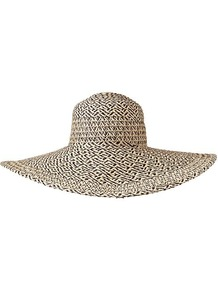 Metallic Floppy Hat - predominant colour: stone; occasions: casual, holiday; type of pattern: standard; style: wide brimmed; size: large; material: macrame/raffia/straw; pattern: plain