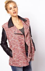 Textured Biker Jacket - style: biker; collar: asymmetric biker; length: below the bottom; shoulder detail: contrast pattern/fabric at shoulder; pattern: herringbone/tweed; predominant colour: true red; secondary colour: black; occasions: casual, evening, work; fit: straight cut (boxy); fibres: cotton - mix; sleeve length: long sleeve; sleeve style: standard; collar break: medium; pattern type: fabric; pattern size: small &amp; light; texture group: tweed - bulky/heavy