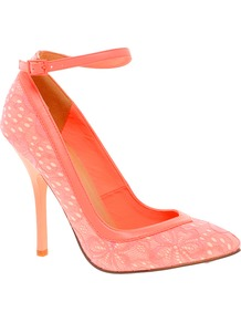Pout Pointed High Heels - predominant colour: coral; occasions: evening, occasion; material: lace; heel height: high; ankle detail: ankle strap; heel: stiletto; toe: pointed toe; style: courts; finish: plain; pattern: plain; embellishment: lace