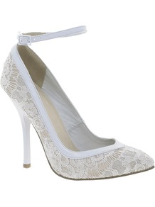 Pout Pointed High Heels - predominant colour: white; occasions: evening, occasion; material: lace; heel height: high; ankle detail: ankle strap; heel: stiletto; toe: pointed toe; style: courts; finish: plain; pattern: plain; embellishment: lace