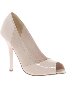 Peachey High Heels With Peep Toe - predominant colour: nude; occasions: evening, work, occasion; material: faux leather; heel height: high; heel: stiletto; toe: open toe/peeptoe; style: courts; finish: plain; pattern: colourblock