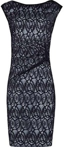 Alma Gathered Lace Dress - style: shift; neckline: slash/boat neckline; sleeve style: capped; fit: tailored/fitted; waist detail: fitted waist; back detail: low cut/open back; secondary colour: pale blue; predominant colour: navy; occasions: evening, work, occasion; length: just above the knee; sleeve length: sleeveless; texture group: lace; pattern type: fabric; pattern size: small &amp; light; pattern: patterned/print; fibres: viscose/rayon - mix; embellishment: lace